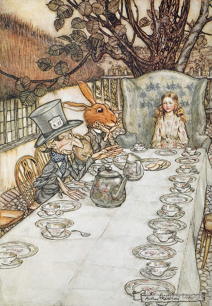 The Mad Hatters Tea Party by Arthur Rackham by Vintage Designs