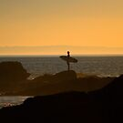 Surfer At Sunset At Rockpile Beach by K D Graves Photography