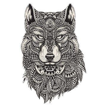 Tribal Wolf Illustration by harshaldesai
