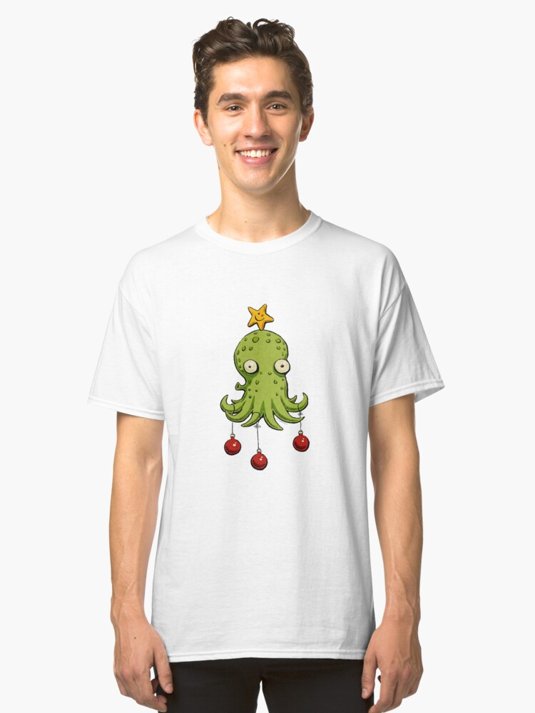 Christmas cephalopod Classic T-Shirt Front
