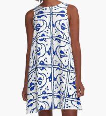 Leaf and Vines Sapphire Blue A-Line Dress