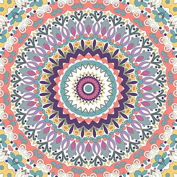 Bloom Mandala in Orange, Green, Yellow, Pink, Purple and White by kellydietrich