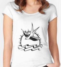Spatz schwarz Tailliertes Rundhals-Shirt