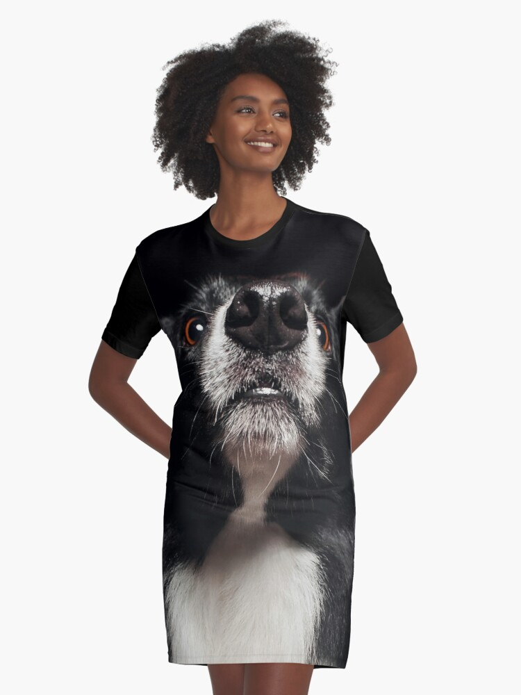 collie face Graphic T-Shirt Dress Front