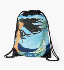 Mermaid, Summer, Waves and Sea Drawstring Bag