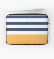 Blue and white stripes with yellow Laptop Sleeve