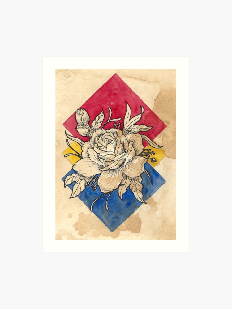 377cdd764e5d7 Rose Neo Traditional Tattoo Design Watercolor Painting - Inked Line Art Art  Print