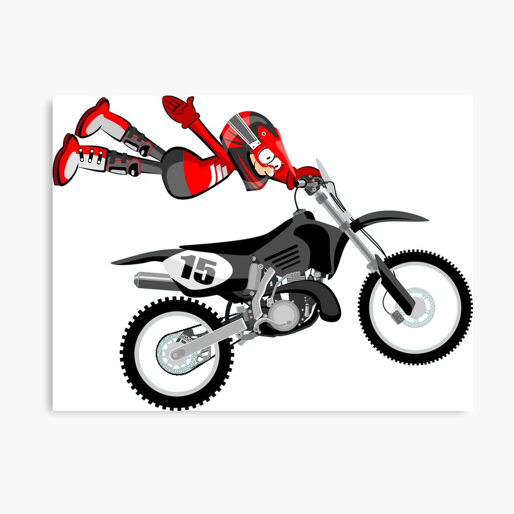 Impression Metallique Motocross Red Rider Flying Style De
