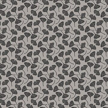 Ginkgo Vector Black on Warm Grey by beththompsonart