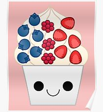 kawaii berry frozen yogurt Poster