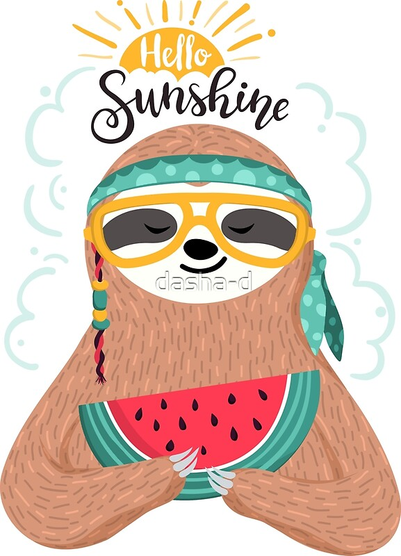 Cute hippie sloth by dasha d