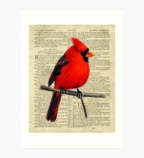 Red Cardinal on Psalm 23 Art Print