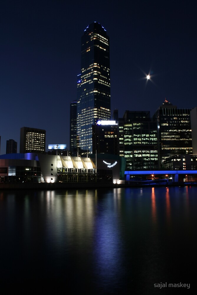 melbourne city view at nite by sajal maskey