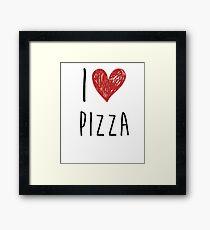I Love Pizza Love Heart Framed Print