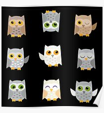 Cute owls on a black background Poster