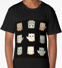 Cute owls on a black background Long T-Shirt