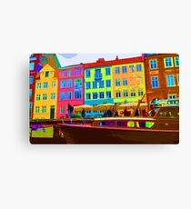 Harbour side Denmark Nyhavn Dayglo Print Canvas Print