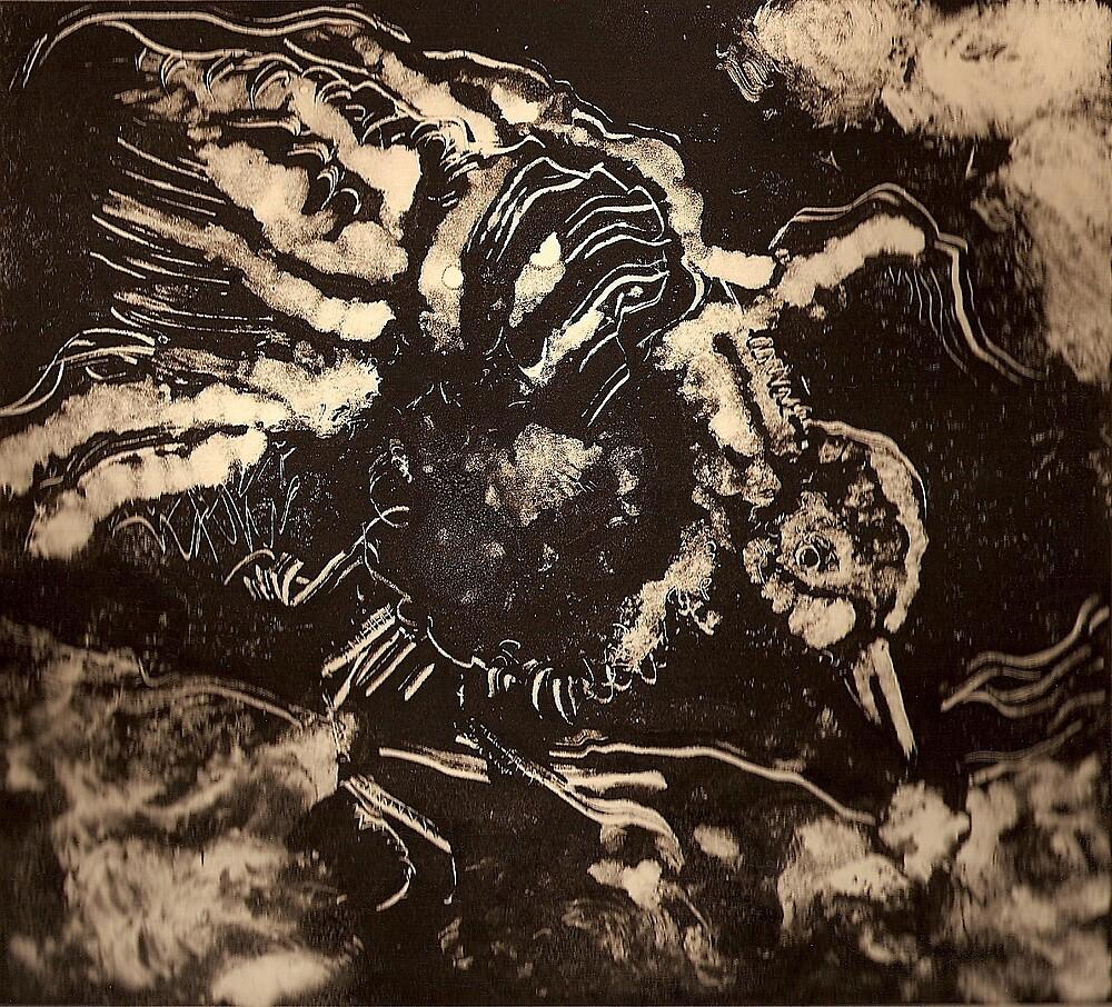 The Raven (Monoprint)-  by Robert Dye