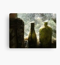 Old Green Bottles on the wall - Mitchells Gully - New Zealand Canvas Print