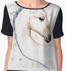 Cute Horse Watercolor Women's Chiffon Top