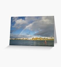 Of Whitewashed Villages and Rainbows Greeting Card