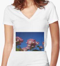 Pink Rose; Blue Sky  Women's Fitted V-Neck T-Shirt
