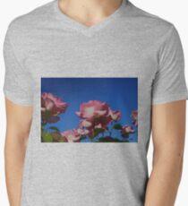 Pink Rose; Blue Sky  Mens V-Neck T-Shirt