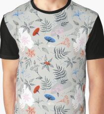 Drawing of a fern leaves and flowers Graphic T-Shirt