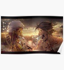 Attack on Titan - Eren Titan vs Reiner Titan Poster