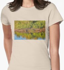 American Alligator Basking In The Sun Womens Fitted T-Shirt