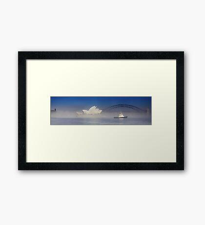 Tug Boat In Fog Framed Print