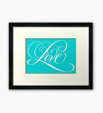 Elegant White Flourished 'Love' Valentine Calligraphy Script Hand Lettering on Tiffany Blue Framed Print