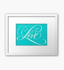 Elegant White Flourished 'Love' Valentine Calligraphy Script Hand Lettering on Tiffany Blue Aqua Teal Framed Print
