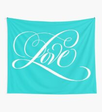 Elegant White Flourished 'Love' Valentine Calligraphy Script Hand Lettering on Tiffany Blue Wall Tapestry