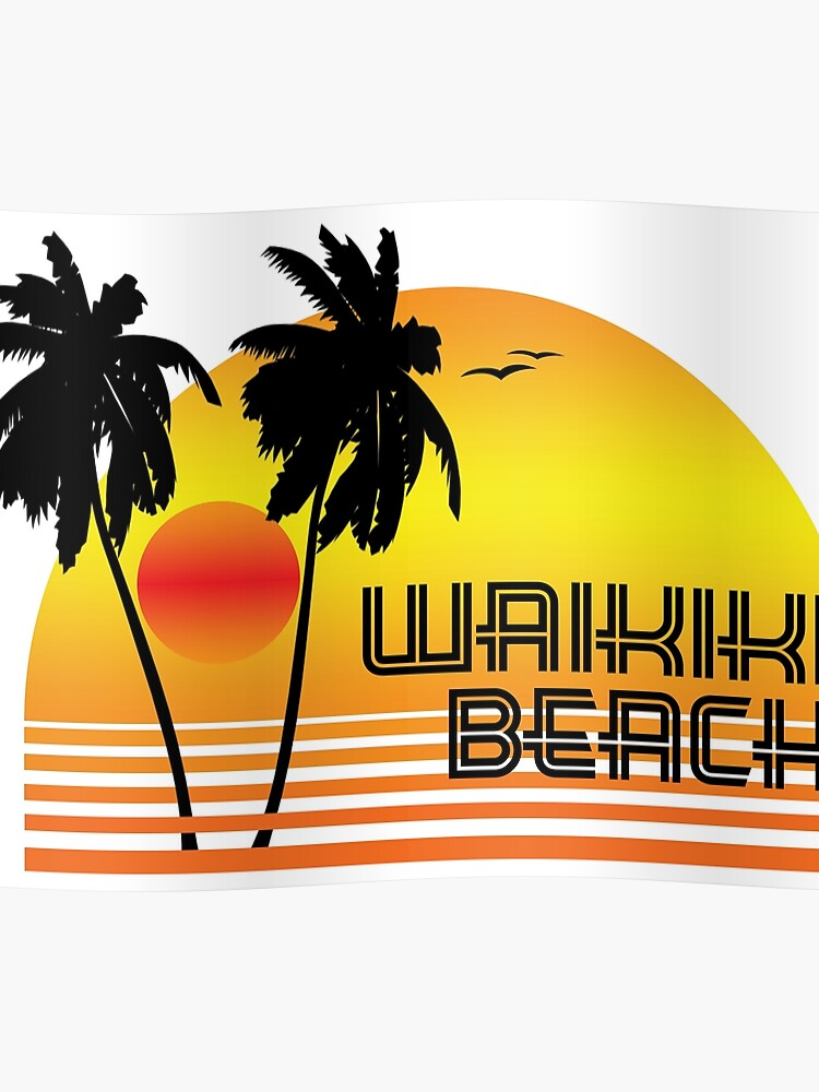16bd7b94 WAIKIKI BEACH HAWAII SUNSET OCEAN SURFING SURF VINTAGE OLD SCHOOLS 70'S  Poster
