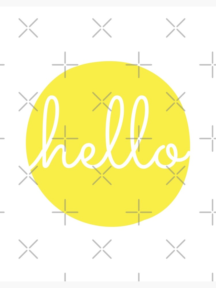 Hello Yellow Minimalist Dot Modern Cursive Font Design | Photographic Print