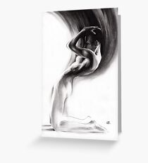 emergent 1b - Charcoal & Compressed Charcoal on paper Greeting Card