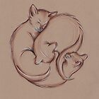 Encircle - Three Sleeping Cats in a Circle Drawing by Rebecca Rees
