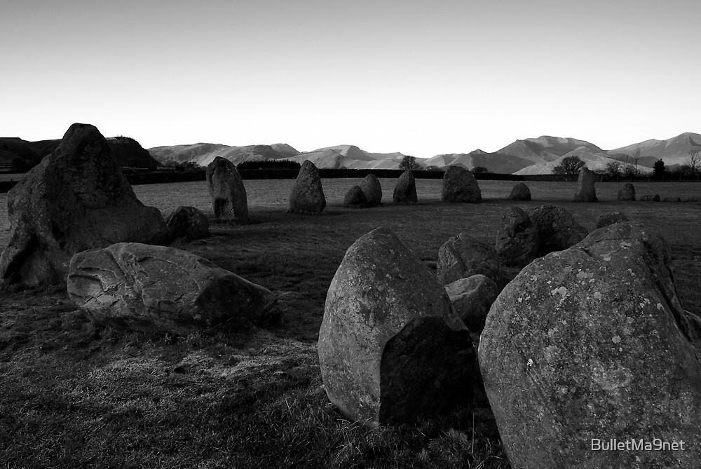 Dawn at castlerigg B&W by BulletMa9net