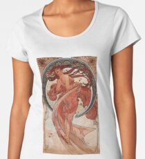 'Dance' by Alphonse Mucha (Reproduction) Women's Premium T-Shirt