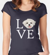 I Love Maltese Dog Lover Cute Doggie Face Women's Fitted Scoop T-Shirt