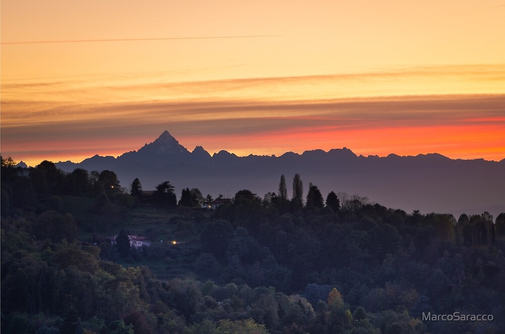 Turin (Torino), sunset on Monviso by MarcoSaracco