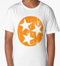 Tennessee Flag Orange and White Distressed Design Long T-Shirt