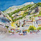 Positano Aquarello, Amalfi Coast, Italy by Dai Wynn