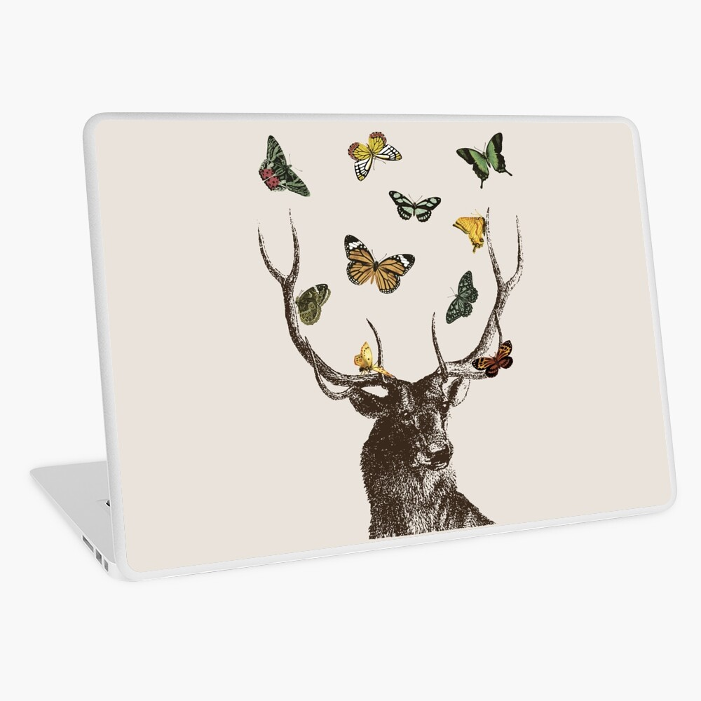 The Stag and Butterflies | Deer and Butterflies | Vintage Stag | Antlers | Woodland | Highland |  Laptop Skin