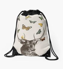 The Stag and Butterflies Drawstring Bag