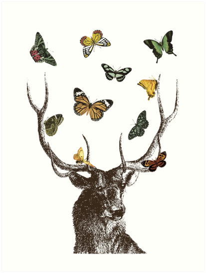 The Stag and Butterflies by EclecticAtHeART