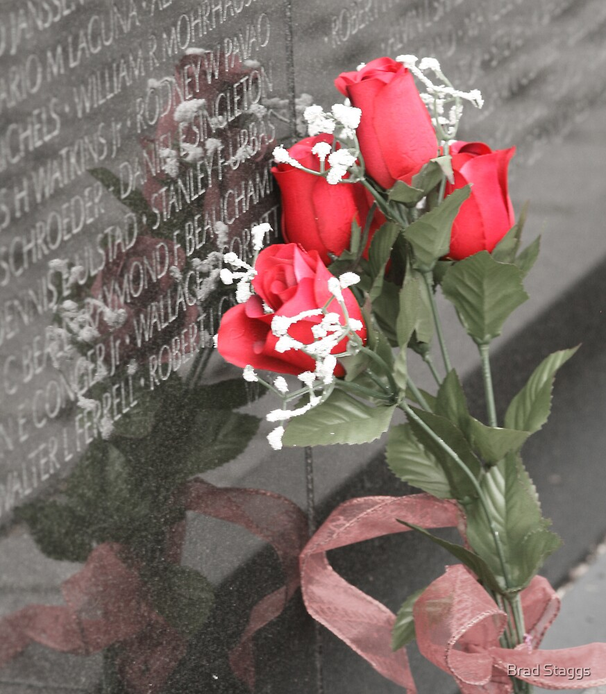 Roses left at the Wall by Brad Staggs