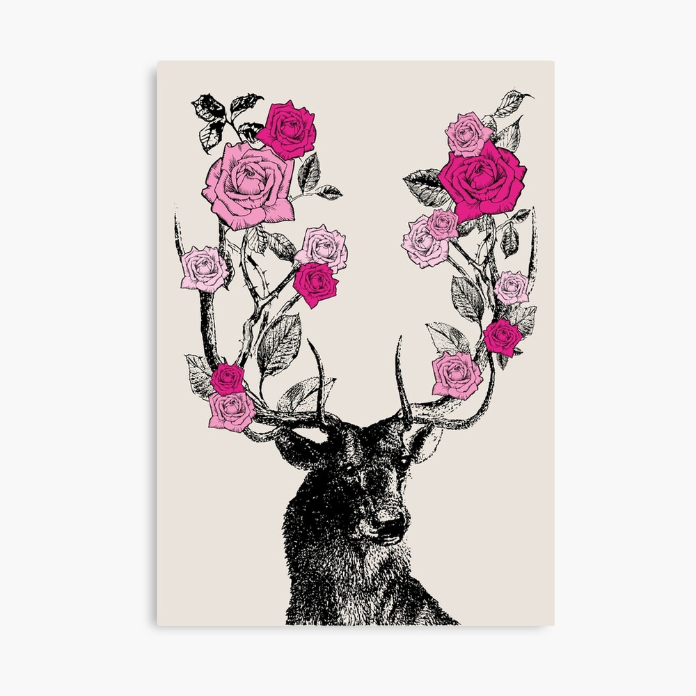 The Stag and Roses | Deer and Roses | Stag and Flowers | Deer and Flowers | Vintage Stag | Antlers | Woodland | Highland | Pink and Beige |  Canvas Print