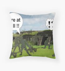 """Killed by """"friendly fire"""" Throw Pillow"""